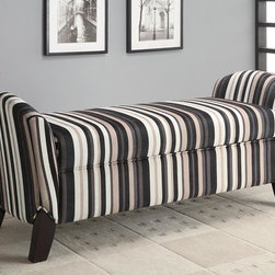 Coaster - Multi Color Transitional Bench - Stylish storage bench wrapped in a brown and black striped microvelvet fabric with cappuccino legs.
