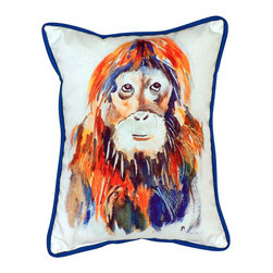 Betsy Drake - Orangutan Large Indoor/Outdoor Pillow - New Large indoor/outdoor pillows. These versatile pillows are equally at home enhancing an interior design or adding life to an outdoor setting. They feature printed outdoor, fade resistant fabric for years of wear and enjoyment.