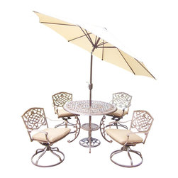 Oakland Living - 7-Pc Outdoor Rockers Set - Includes table, four swivel rockers with cushions, 9 ft. tilt crank umbrella with stand and metal hardware. Handcast. Umbrella hole table top. Fade, chip and crack resistant. Traditional lattice pattern and scroll work. Hardened powder coat. Rust free. Warranty: One year limited. Made from cast aluminum. Antique bronze finish. Minimal assembly required. Table: 42 in. Dia. x 29 in. H (44 lbs.). Chair: 23 in. W x 17.5 in. D x 38 in. H (33 lbs.)The Oakland Mississippi Collection combines southern style and modern designs giving you a rich addition to any outdoor setting. This dining set is the prefect piece for any outdoor dinner setting.