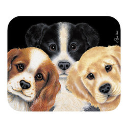 "290-Peeping Puppies Mouse Pad - Decorate your desk with your favorite art designs that look great and protect your mouse from scratches and debris. 100% Polyester face, 100% neoprene backing, permanently dye printed & fade resistant. 9.25"" x 7.5"""
