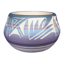 Night Sands Vase - Southwestern pottery is striped with cool nighttime shades on this elegant handmade vase. Bold patterns in creamy white artfully display its Navajo roots.