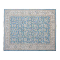 Area Rug, 100% Wool 9'X12' Sky Blue Oushak Silver Wash Hand Knotted Rug SH11361 - Hand Knotted Oushak & Peshawar Rugs are highly demanded by interior designers.  They are known for their soft & subtle appearance.  They are composed of 100% hand spun wool as well as natural & vegetable dyes. The whole color concept of these rugs is earth tones.