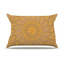 """Kess InHouse - Patternmuse """"Mandala Spin Latte"""" Brown Yellow Pillow Case, King (36"""" x 20"""") - This pillowcase, is just as bunny soft as the Kess InHouse duvet. It's made of microfiber velvety fleece. This machine washable fleece pillow case is the perfect accent to any duvet. Be your Bed's Curator."""