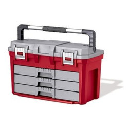 Keter 3 Drawer Tool Box - The Keter 3 Drawer Tool Box is an all-in-one storage box that ensures you always have the proper tool at the proper time. The unit features a deep main storage compartment that's perfect for hammers, power tools, and other larger items, secured with metal latches. Three full-extension drawers with ball-bearing glides provide a handy place to organize tool sets and hardware. The whole piece is made from solid molded resin with a heavy-duty horizontal-carry metal handle with a soft hand grip.About KeterFor over 60 years, Keter Plastic has proven its commitment to innovation, quality, and design by continually meeting changing needs and trends. Keter's product range reaches a consumer base across the world, focusing on outdoor furniture and storage with a commitment to the environment.