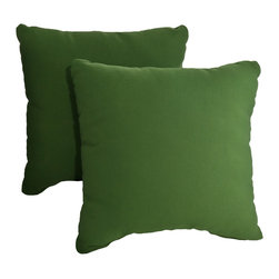 """Dola - Outdoor Patio Accent Pillows, Hunter Green - Enhance the look of your outdoor furniture with the Verano outdoor throw pillow. Comfort is just as important for the patio as it is for inside your home, so dress up your sectional or conversation set with patio furniture pillows. These stylish outdoor, 15"""" x 15"""" weather resistant accent pillows in hunter green will compliment any patio furniture. Made from 100% polyester, they come with zippered covers which are removable for easy washing. For purchase in sets of two."""