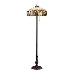 Z-Lite - Z-Lite Hudson Floor Lamp X-LF33-02Z - Inspired by nature, this floor lamp displays green leaf motifs encircled by sweeping amber patterns on a beige background, adding a warm touch of light and nature to any room of the house. This fixture is finished in chestnut bronze.
