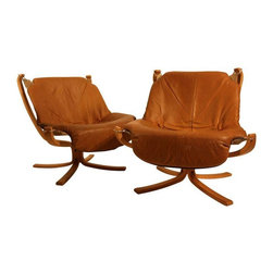 "Sigurd Ressel Falcon Chairs for Vatne Mobler - This pair of Falcon Chairs Designed by Sigurd Ressel for Vatne Mobler of Norway is in good, used condition with some normal wear to the leather. The frames are in perfect condition. These two chairs are perfectly California cool! Seat height is 16.4""."