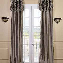Ruched Silver Grey Thai Silk Curtain - We've taken our popular Thai Silk panels and added a ruched header valance creating the most luxurious, over the top style in window treatments out there. This style was designed and meant to be stationary and used as decorative panels to frame out your window.