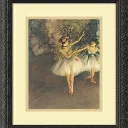 "Amanti Art - ""Two Dancers on Stage c. 1874"" Framed Print by Edgar Degas - These dancing beauties are a sight to behold. Bring them home with this high-quality reproduction of Edgar Degas' masterpiece. It's gallery quality and custom framed in antique black scroll wood. Hang it over the mantle and enjoy a front-row seat to the ballet."