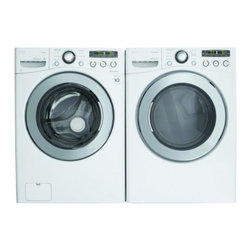 """LG - WM2650HWAKIT2 SteamWasher Series 3.6 Cu. Ft. Capacity 27"""" Front-Load Washer + DL - The LG WM2650H 36 Cu Ft extra-large capacity front load steam washer with ColdWash powerfully penetrates fabrics for advanced cleaning while being oh-so gentle to even your most delicate fabrics This LG large-capacity front-load washer also features ..."""