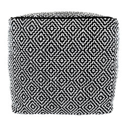 BrandWave - Square Pouf, Black and White Diamonds - This square pouf is more than just a beautiful piece of decor. Its soft yet sturdy filling makes it a comfortable seat for one, as well as an ottoman.