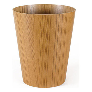 Pfeifer Studio - Ayous Wood Wastebin - African materials meet Japanese design in this elegant waste bin create in lightweight Ayous wood veneer. Atropical tree common in the forests of equatorial West Africa, Ayous, is prized for its linear grain pattern and light natural coloring.