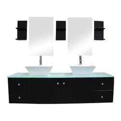 "Design Element - Design Element Portland 61"" Espresso Wall Mount Double Vessel Sink Vanity Set - The 61"" Portland Double Vanity set is elegantly constructed of solid hardwood. The tempered glass counter tops natural aqua color brings a clean and contemporary look to any bathroom. Seated at the base of the double ceramic designer sinks are chrome finished pop up drains designed for easy one touch draining. Two matching framed mirrors and shelves are included. Built into the vanity are four additional drawers and two cabinets adorned with satin nickel hardware."