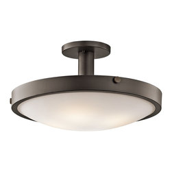 Kichler Lighting - Kichler Lighting Lytham Transitional Semi Flush Mount Ceiling Light X-ZO64224 - This 4 light semi flush ceiling fixture is elegant and understated. Featuring a warm, Olde Bronze finish and Satin Etched White Glass, this design can complement any space.
