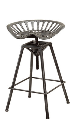 Great Deal Furniture - Charlie Metal Tractor Seat Bar Stool - The Charlie bar stool is comfortably designed and a throw-back to the dive-bar days. Crafted out of sturdy steel, this industrial inspired style is also height adjustable to fit your bar or dining needs. The unique design will standout in any home.