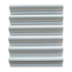 "Stone Center Online - Thassos White 2 x 12 Chair Rail Bullnose Trim Molding Polished - Premium Grade Grecian Thassos Snow White Marble Polished 2x12"" Chair Rail Bullnose Wall & Floor Tiles are perfect for any interior/exterior projects such as kitchen backsplash, bathroom flooring, shower surround, window sill, dining room, hall, etc. Our large selection of coordinating products is available and includes hexagon, herringbone, basketweave mosaics, field, subway tiles, borders, baseboards, and more."