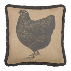 Thomas Paul - Prize Poultry Hen Jute Pillow - If only it was possible to sew all the Thomas Paul pillows together into a sofa. It would be the most talked about sofa in town. All the bright colored fauna and flora, the patchwork of silk and linen--it would truly be a masterpiece. The only thing that keeps us from doing this is--we don't know how to sew. And then there is that business about somehow attaching legs. We're even more clueless on how to do that.