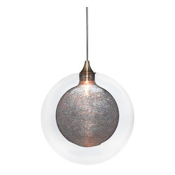 Ohr Lighting® - Kadur Glass Pendant Light, Clear with Clear Inner - Drizzled glass threads caught within pristine glass orbs hover suspended in midair. *Each order is custom made and may take up to 8 weeks to ship.
