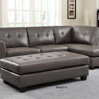 Homelegance Modern Small Tufted Grey Leather Sectional Sofa Chaise - Fall into deep relaxation with the Springer Collection. Generously stuffed, this sofa features an end chaise that allows you to stretch out and get seriously comfortable. The coordinating oversized ottoman allows additional people the space to put up their feet and relax. Tufting along with the stylish grey or taupe bonded leather match cover will be a perfect fit in your modern living room.