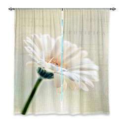 "DiaNoche Designs - Window Curtains Lined by Sylvia Cook Daisy - Purchasing window curtains just got easier and better! Create a designer look to any of your living spaces with our decorative and unique ""Lined Window Curtains."" Perfect for the living room, dining room or bedroom, these artistic curtains are an easy and inexpensive way to add color and style when decorating your home.  This is a woven poly material that filters outside light and creates a privacy barrier.  Each package includes two easy-to-hang, 3 inch diameter pole-pocket curtain panels.  The width listed is the total measurement of the two panels.  Curtain rod sold separately. Easy care, machine wash cold, tumble dry low, iron low if needed.  Printed in the USA."
