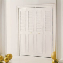 """DUNBARTON CORPORATION - Classic Metal Bifold Door 4-Panel 48"""" x 80"""" - Slim fold - (Non-Handed) Ivory. Baked Enamel. 24 Gauge Steel. Complete Track and hardware included. The """"Classic"""" 4 Panel Half-Louvered Style. Finished opening size: 48"""" x 80"""". Actual door size: 47-1/2"""" x 78-1/2""""."""