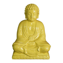 None - Yellow Ceramic Buddha - Let the light of the Buddha lift your spirits and instill peace and harmony in your home. The Sitting Buddha is an exquisitely carved porcelain and ceramic statue perfect for adorning your table or mantle shelf.
