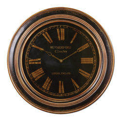 Grace Feyock - Grace Feyock Buckley Traditional Clock X-38660 - Distressed black finish with heavily antiqued golden bronze details. Clock face is under glass.
