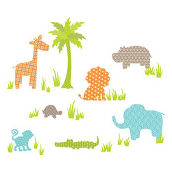 "WallPops - Jungle Friends Wall Art Decal Kit - A jungle safari is an adorable nursery Decor theme! These sweet wall decals would be precious in a boys or a girls nursery, featuring 6 of the most famous wild animals, a funky tree and tufts of grassy leaves. Your jungle friends wall art is designed as cute silhouettes, printed with a patchwork of pretty patterns including polka dots and chevron stripes. This WallPop Comes on 2 17.25"" x 39"" Sheets and contains 41 Pieces Total. WallPops are repositionable and always removable."
