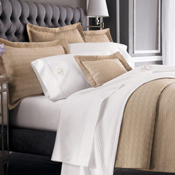 Horchow - Marcus Collection Twin Sheet Set, Plain - Indulge in a set of our Marcus Collection sheets by Sferra with optional monogramming. Available in an array of patterns and colors, these luxurious sateen sheets are woven of soft 400-thread-count pima cotton and are finished with an embroidered satin-...