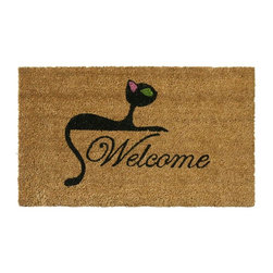 Rubber-Cal - Kitty Cat Coir Welcome Mat - Make your guests feel welcomed by everyone in your home,right down to the family cat,with this welcome door mat. The mat is made from sustainable coir,allowing it to stand up to daily wear in an eco-friendly way,and features a black kitty design.