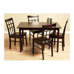 Warehouse of Tiffany - Justin Bi-cast Leather & Wood Dining Set - Perfect addition to today's modern interior styles. Table is constructed of Oak and finished in a rich dark Brown color. Chairs offer bi-cast leather upholstery in a gorgeous Brown shade. Chair:  18.8 in. W x 16.5 in. D x 34.6 in. H . Table: 47.2 in. L x 29.5 in. W x 29.1 in. H (47 lbs.)Update your dining room decor with this 5-piece dining furniture set. Crafted out of Oak wood, dining tables and chairs feature a light cappuccino hue. Dining chairs offer bi-cast leather upholstery in a gorgeous Brown shade. Bi-cast leather is known for its unique shine and excellent dirt-repelling surface. Furniture set includes one table and four chairs.
