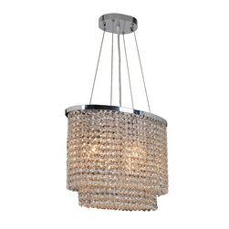 "Worldwide Lighting - Prism 6-Light Chrome Finish Crystal String 16"" Oval Chandelier - This stunning 3-light Crystal Chandelier only uses the best quality material and workmanship ensuring a beautiful heirloom quality piece. Featuring a radiant chrome finish and finely cut premium grade clear crystals with a lead content of 30%, this elegant chandelier will give any room sparkle and glamour. Worldwide Lighting Corporation is a privately owned manufacturer of high quality crystal chandeliers, pendants, surface mounts, sconces and custom decorative lighting products for the residential, hospitality and commercial building markets. Our high quality crystals meet all standards of perfection, possessing lead oxide of 30% that is above industry standards and can be seen in prestigious homes, hotels, restaurants, casinos, and churches across the country. Our mission is to enhance your lighting needs with exceptional quality fixtures at a reasonable price."