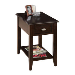 Jofran - Jofran Chairside Table in Merlot Finish - Jofran - End Tables - 10307 - Accent any arm chair with this casual yet chic chairside table. Birch veneer construction features bookmatch inlay in a beautiful dark Merlot finish with quarter round routered edges. One bottom shelf and one drawer with an oval brushed nickel pull offer storage nooks for living accessories.