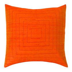 Jiti - Pyramid Orange Pillow - Add some color to your home decor with this Silk Embroidered Pillow.  Perfect for any Room!  This pillow is made of 100% Silk with 95% Feather and 5% down. Invisible zipper closure. Dry Clean Only