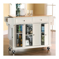 "Crosley - Kitchen Cart with Wood Top - Wine lovers will entertain in style with the Crosley kitchen wine cart. Whether you are a connoisseur of fine wines or simply a casual fan, the Crosley kitchen wine cart offers the utmost in entertaining convenience. The cabinet features a 20-bottle wine rack and side-mounted 3-bottle wine valet and the top provides ample surface space for presentation of your wine and cheese alike. Raised panel doors conceal the adjustable inner shelving and two sliding drawers provide several options for storage. Features: -Solid hardwood and veneer construction. -Natural wood top. -Hand rubbed. -Beautiful raised panel doors. -Removable wine storage panels reveal additional open storage. -Adjustable shelf inside cabinet. -Adjustable levelers on legs. -Side mounted 3 bottle wine service. Dimensions: -32.5"" H x 48"" W x 18"" D, 88.19 lbs."