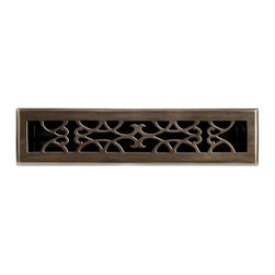 """Brass Elegans 120C AB Brass Decorative Floor Register Vent Cover - Victorian Scr - This antique brass finish solid brass floor register heat vent cover with a victorian scroll design fits 2 1/4"""" x 14"""" x 2"""" duct openings and adds the perfect accent to your home decor."""