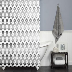 India Ink - Tasmeen 70-Inch x 72-Inch Shower Curtain in Grey - This beautiful curtain has a grey zig-zag medallion pattern, with a gentle fade throughout. The sun-drenched white and Eastern design will put you in mind of the Taj Mahal.