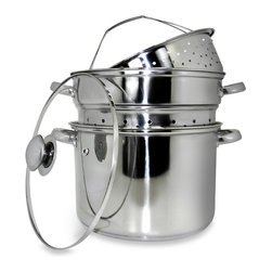 COOK PRO - 12 Quart 18/10 Stainless Steel Pasta Cooker with Encapsulated Base - 8 Qt Professional 18/10 stainless steel 4 pc multi-cooker with cooker pot, steamer basket, pasta basket, and vented tempered glass lid . Encapsulated base provides faster and even heat distribution.