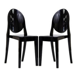 Ghost Side Chair Set in Black