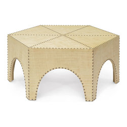 Kathy Kuo Home - Casablanca Global Bazaar Raffia Hexagonal Coffee Table - Global Bazaar meets Hollywood Regency in this ornate, hexagonal coffee table. Covered in raffia and detailed with antique brass nail head trim, this unique table is as welcoming and eclectic as the gracious host.