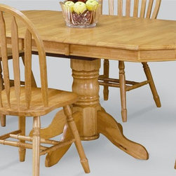 Sunset Trading - 36 in. Eco-friendly Pedestal Dining Table - Chair not included. Self storing 12 in. leaf. Solid handcrafted hardwood. Clipped-edge corners. Adjustable feet levelers. Sturdy quality craftsmanship. Warranty: One year. Made from Malaysian oak. Light oak finish. Made in Malaysia. Assembly required. Minimum: 48 in. L x 36 in. W x 30 in. H. Maximum: 60 in. L x 36 in. W x 30 in. H (93.04 lbs.)Welcome  guests into your home with a touch of country comfort with this classic American piece from the Sunset Trading - Sunset Selections Collection. Whether it's casual coffee and conversation, everyday dining, holidays or special occasions, memories are guaranteed to be made when family and friends gather around this versatile dining table. Warm and inviting, the classic beauty and craftsmanship of this dining tables makes it equally appropriate for your kitchen or dining room fulfilling all your formal and informal dining needs. Classic and timeless, and with the memories made, this relaxed dining piece will bring warmth and comfort to your home for years to come.