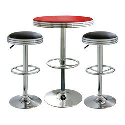 Buffalo Tools - AmeriHome 3 Piece Soda Fountain Style Bar Set - Black/Red - 3 Piece Soda Fountain Style Bar Set - Black/Red by AmeriHome The AmeriHome 3 Piece Soda Fountain Style Bar Set Bar Set includes two adjustable height bar stools with black vinyl seats and one adjustable height bar table with a red vinyl top.  The polished chrome base and black vinyl seats are reminiscent of the days of diners and drive-ins to add a hint of classic retro design to your kitchen, bar, game room, basement, or shop. The 3 Piece Adjustable Height Bar Set is comfortable for kids and adults to sit together. The bar stools have a large 15.75 inch wide, vinyl padded, 360 degree swivel seat, and a built in footrest. The Adjustable Height Bar Table measures 25 inches in diameter, with a textured vinyl covering on the tabletop that makes wiping up spills easy.  Set includes 1 bar height table with a red vinyl top and 2 bar stools with black vinyl seats Makes a great addition to your kitchen, bar, game room, or basement Vintage retro style is reminiscent of diners and drive-ins Bar stool specs: adjustable height from 23.5 to 31.75 in., 15.75 in, vinyl padded 360 degree swivel seat, built in footrest, 330 lbs. weight capacity each Bar table specs: 25 in. diameter table top with textured vinyl covering, adjustable height from 26.5 to 36.5 in., 200 lb. weight capacity