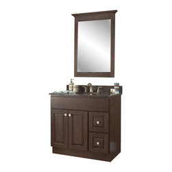 "JSI - JSI Cabinetry Hampton Bathroom Vanity Set  36"" Base and 30"" Mirror - PLEASE NOTE: Sale is for vanity cabinet and mirror only - Faucet, top, and sink are not included."