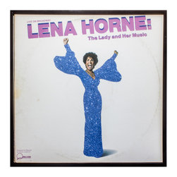 "Glittered Lena Horne The Lady and Her Music Album - Glittered record album. Album is framed in a black 12x12"" square frame with front and back cover and clips holding the record in place on the back. Album covers are original vintage covers."