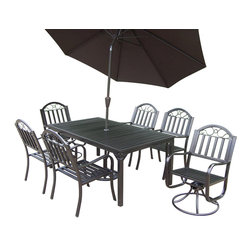 Oakland Living - 8-Pc Outdoor Traditional Dining Set - Includes rectangular table, four arm chairs, two swivel chairs and 108 in. Dia. tilting umbrella with stand. Crisp and stylish traditional lattice pattern and scroll work. Umbrella hole to table top. Metal hardware. Fade, chip and crack resistant. Warranty: One year limited. Made from durable tubular iron. Hammer tone bronze hardened powder coat finish. Minimal assembly required. Swivel chair: 21.5 in. W x 23 in. D x 34 in. H (32 lbs.). Arm chair: 21.5 in. W x 23 in. D x 34 in. H (28 lbs.). Table: 67 in. L x 40 in. W x 29.5 in. H (84 lbs.)The Oakland Rochester Collection combines practical designs and modern style giving you rich addition to any outdoor setting. This dining set is the prefect piece for any outdoor dinner setting. Just the right size for any backyard or patio. We recommend that products be covered to protect them when not in use. To preserve the beauty and finish of the metal products, we recommend applying epoxy clear coat once year. However, because of the nature of iron it will eventually rust when exposed to the elements.