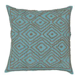 "Surya - Surya 20 x 20 Decorative Pillow, Sky Blue and Olive Gray (LD033-2020P) - Surya LD033-2020P 20"" x 20"" Decorative Pillow, Sky Blue and Olive Gray"