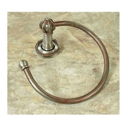 Anne At Home - Mai Oui Towel Ring - Hand cast and finished. Made in the USA. Pewter , Steel. Collection: Mai Oui. 6.5 in. L x 7 in. W x 3 in. H