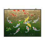 China Furniture and Arts - Gold Leaf Prosperity Koi Fish Panel - The image featuring nine koi symbolizes prosperity and good luck in Chinese Feng Shui. This wooden panel is hand painted on gold leaf background with elegant black borders to round out its quiet beauty. Matching brass hangers are included.