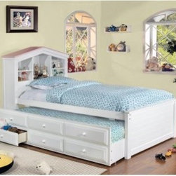 Furniture of America Dollhouse Twin Storage Bed with Trundle and Drawers - The Furniture of America Dollhouse Twin Storage Bed with Trundle and Drawers sure packs a wallop. For one it's a bed, for two, it also has a trundle, and for three, it has drawers with ample storage space. To top it all off, the headboard has a fun and functional dollhouse theme.About Furniture of America Based in California, Furniture of America has established itself as a premier provider of fine home furnishings. The people behind Furniture of America brand are moved by passion, hard work, and persistence. They are always striving to design the latest piece, keeping in mind their mission to make quality furniture available to urban-minded shoppers, without compromising the packaging integrity.Furniture of America offers unique, coordinated, and affordably designed furniture; they are a one-step resource for high-quality furniture with secure and professional packaging in the furniture industry.