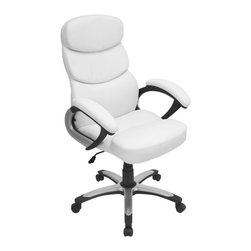 Lumisource - Office Chair in White - Earned its PHD in comfort. Thickly padded seat is covered in soft leatherette finish. The segmented seat and back are shaped to conform to the body. The adjustable hydraulic post allows seat height to adjust. Five castor wheels base make positioning a breeze. Swivels 360 degrees. Made from PU, foam, metal and plastic. White color. Assembly required. Seat height: 18.5 in. to 22 in.. Overall: 27 in. W x 26.5 in. D x 42.5 in. to 46 in. H (33 lbs.)All that and good looking too; what more can you ask for?